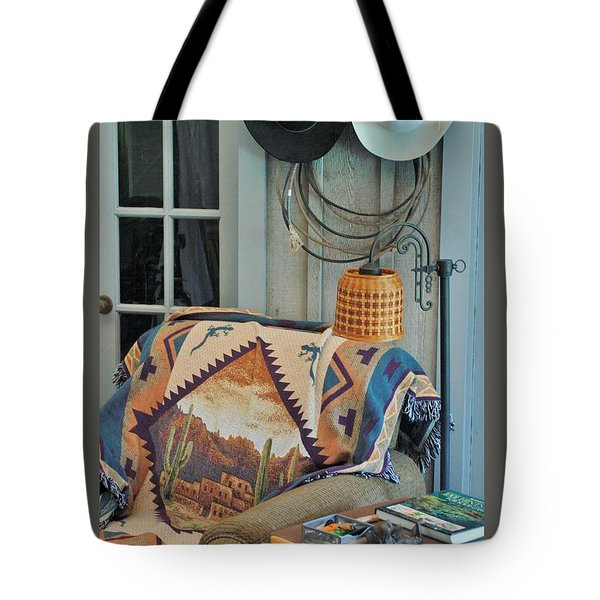 Western Wear Man Chair Tote Bag by John Glass