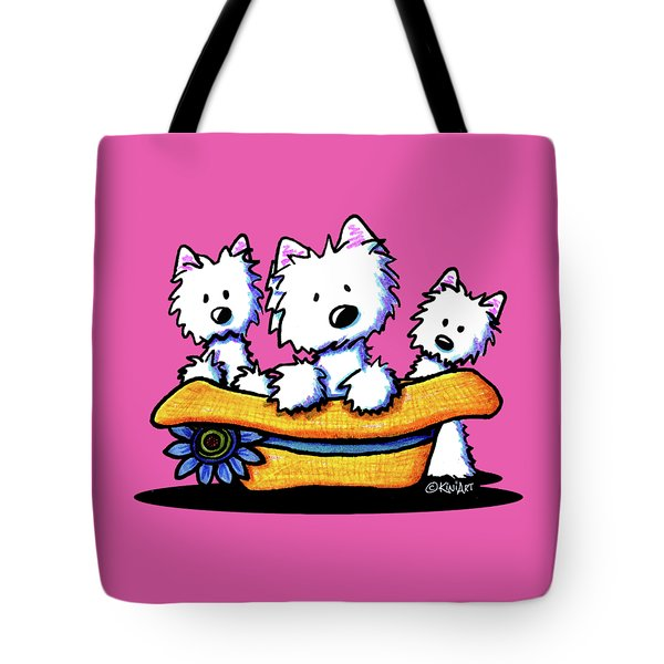 Westie Hat Trio Tote Bag by Kim Niles
