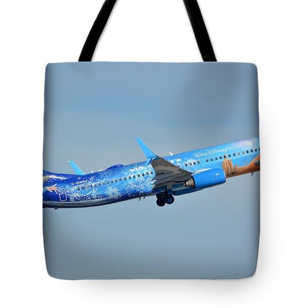 Westjet Boeing 737-8ct C-gwsv Frozen Phoenix Sky Harbor January 29 2016 Tote Bag by Brian Lockett