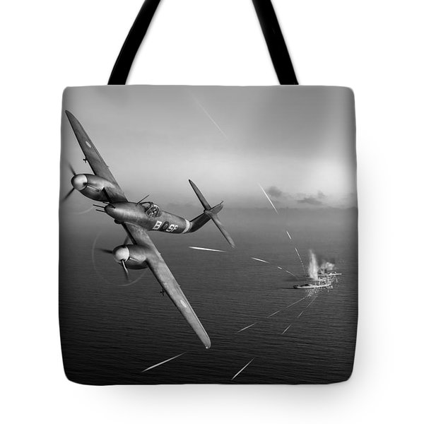 Tote Bag featuring the photograph Westland Whirlwind Attacking E-boats Black And White Version by Gary Eason