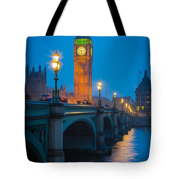 Westminster Bridge At Night Tote Bag