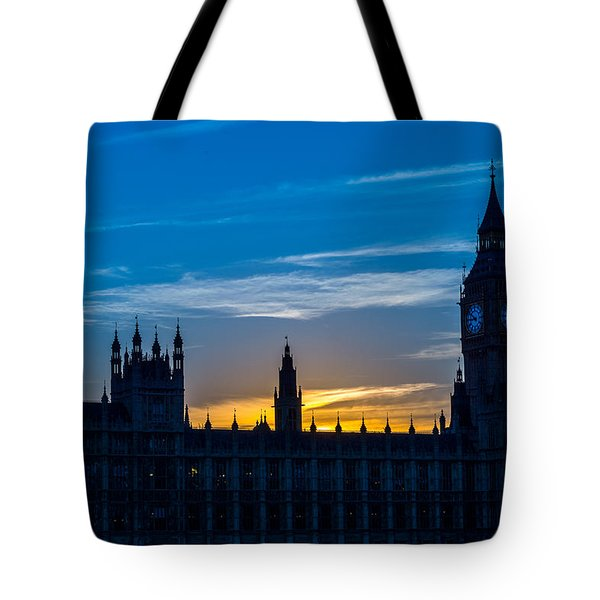 Westminster Parlament In London Golden Hour Tote Bag
