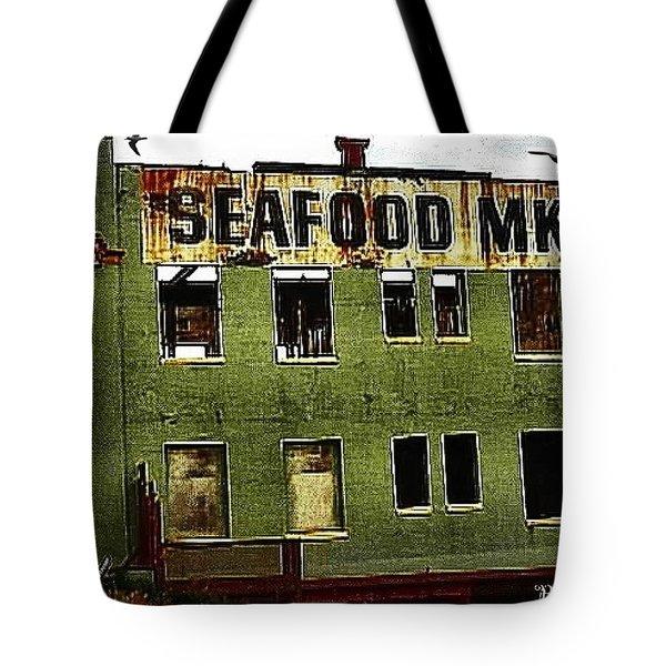 Westport Washington Seafood Market Tote Bag by Sadie Reneau