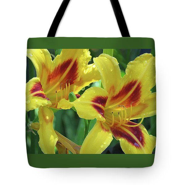 Wet And Wild Daylily Duo Tote Bag
