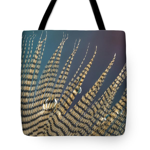 Wet Drop On Wood Duck Feather Tote Bag
