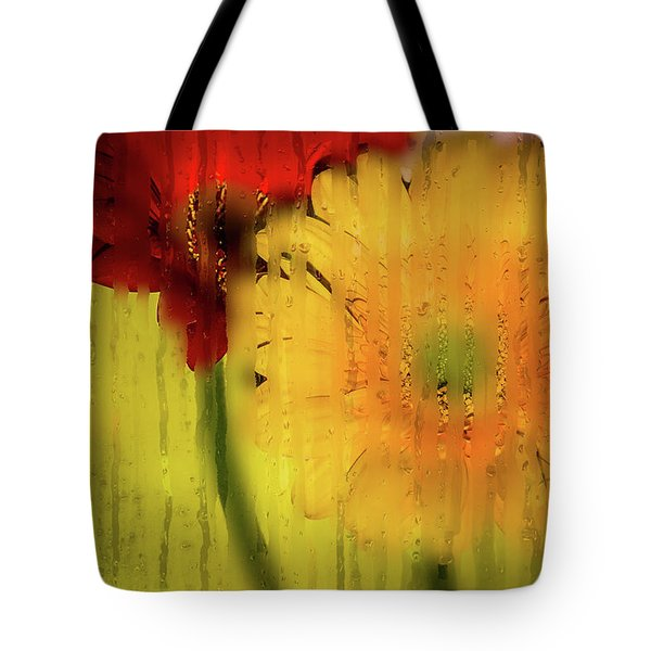Wet Glass Flowers Tote Bag