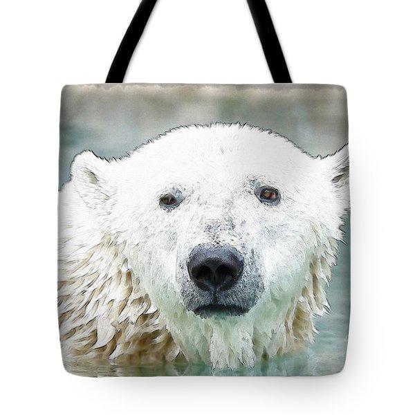 Wet Polar Bear Tote Bag