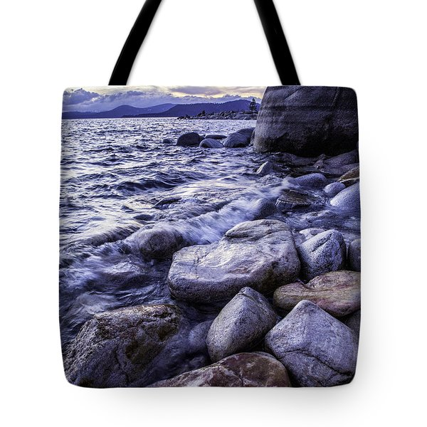 Wet Rocks At Sunset Tote Bag