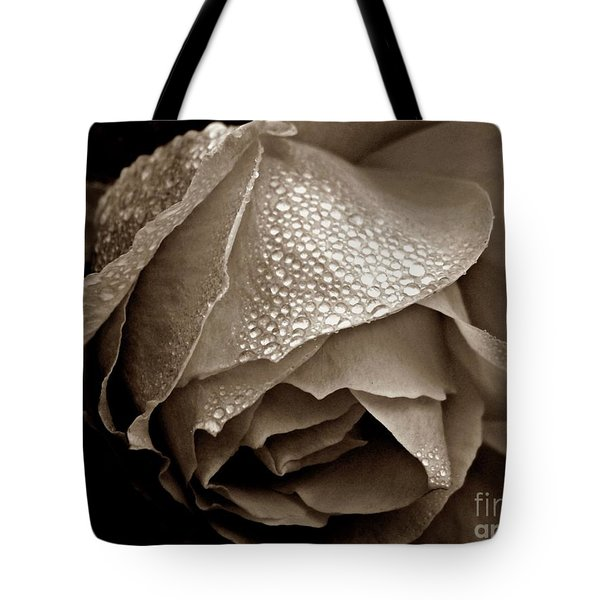Tote Bag featuring the photograph Wet Rose In Sepia by Patricia Strand