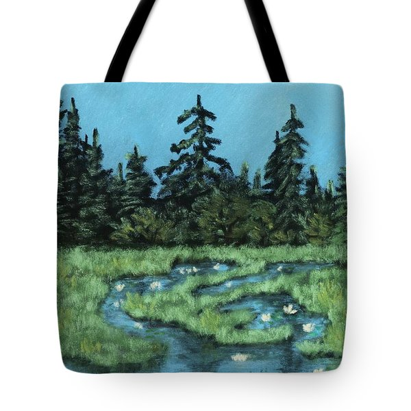 Tote Bag featuring the painting Wetland - Algonquin Park by Anastasiya Malakhova