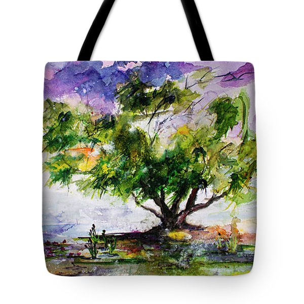 Wetland In The Mist Landscape With Trees And Birds Tote Bag
