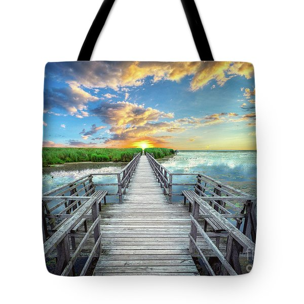 Wetland Marsh Sunrise Treasure Coast Florida Boardwalk A1 Tote Bag