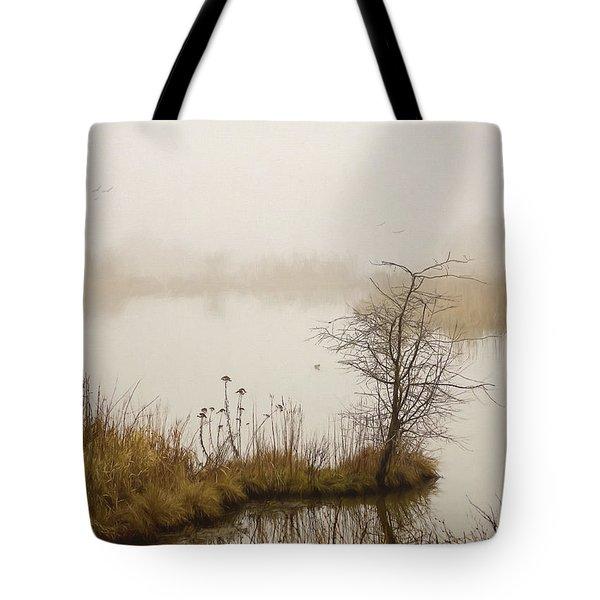 Tote Bag featuring the painting Wetland Wonders Of Winter by Jordan Blackstone