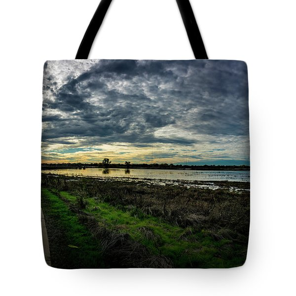 Wetlands Sunset Panorama Tote Bag