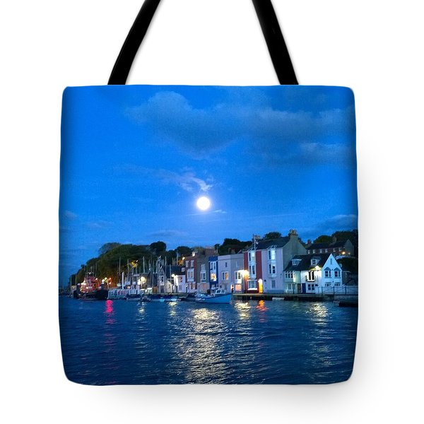 Weymouth Harbour, Full Moon Tote Bag by Anne Kotan
