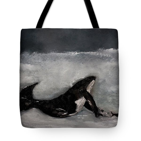 Tote Bag featuring the painting Whale by Barbie Batson