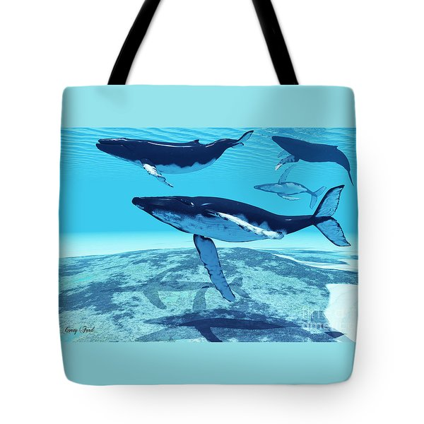 Whale Pod Tote Bag by Corey Ford