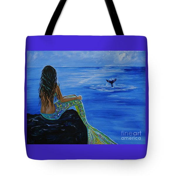 Whale Watcher Tote Bag by Leslie Allen