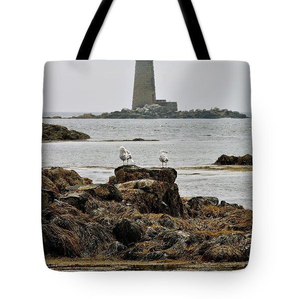 Whaleback Lighhouse From Fort Constitution Tote Bag by Rick Frost
