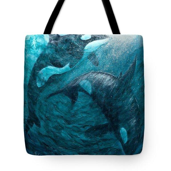Whales  Ascending  Descending Tote Bag
