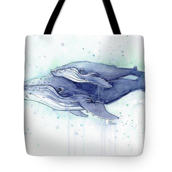 Whales Humpback Watercolor Mom And Baby Tote Bag by Olga Shvartsur