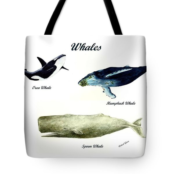 Whales Tote Bag by Michael Vigliotti