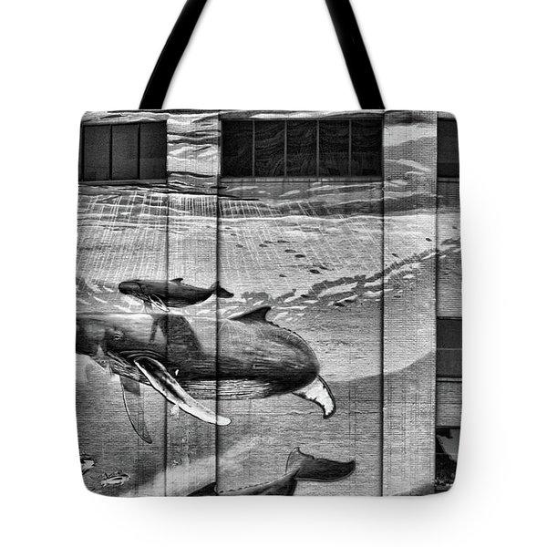 Whales Mural Building Penn Tote Bag