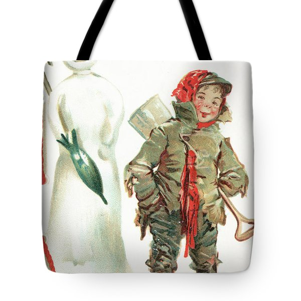 What Cheer For Christmas  Victorian Christmas Card Tote Bag
