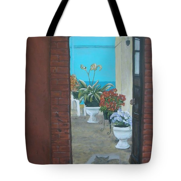 Tote Bag featuring the painting What Is Inside... by Betty-Anne McDonald