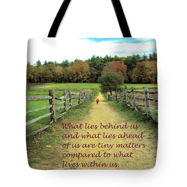 What Lies Ahead Tote Bag by Deborah Dendler