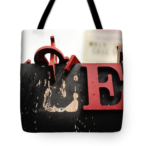 Tote Bag featuring the photograph What Rhymes With E by Dutch Bieber