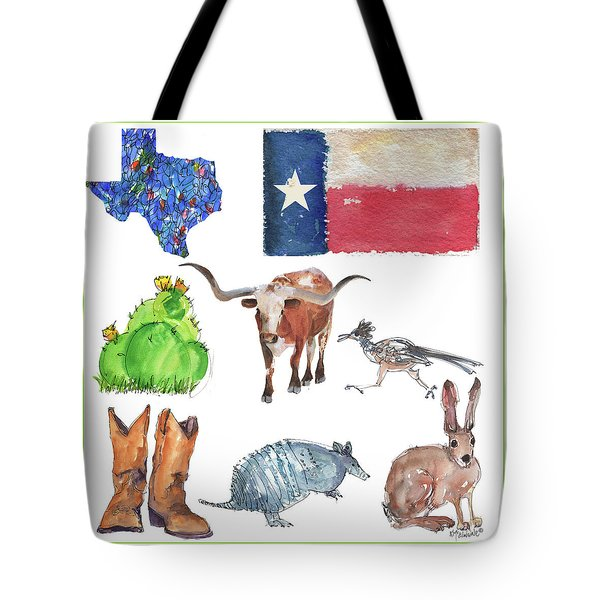What Texas Loves, Texas Longhorn Watercolor Painting By Kmcelwaine Tote Bag