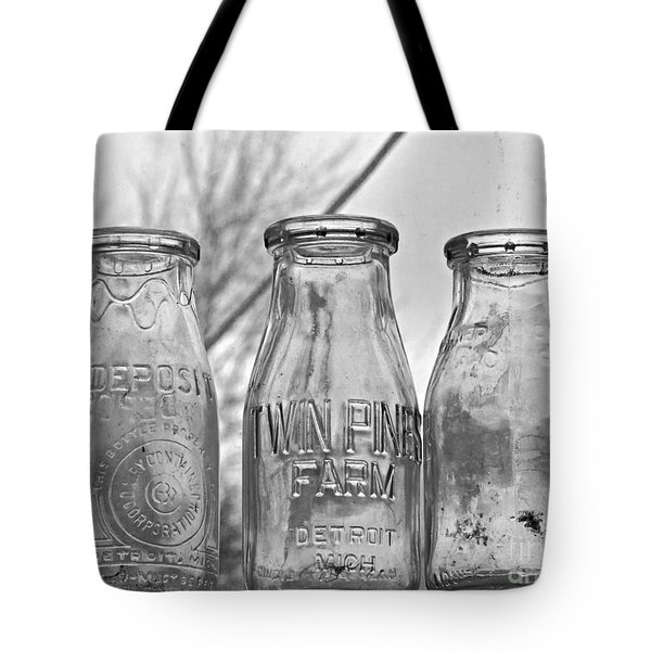What The Milk Man Left, Bw Tote Bag by Sandra Church