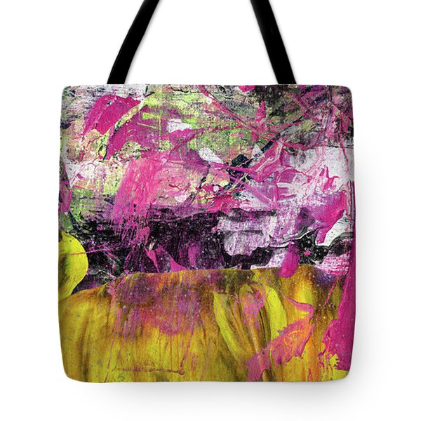 Whatever Makes You Happy - Large Pink And Yellow Abstract Painting Tote Bag