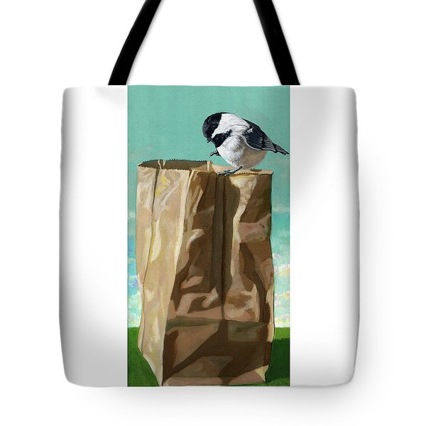 Tote Bag featuring the painting What's In The Bag Original Painting by Linda Apple