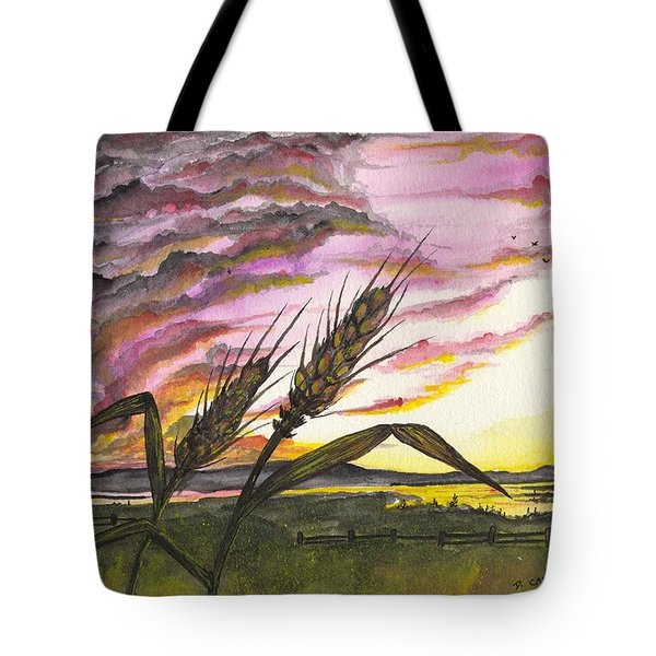 Tote Bag featuring the painting Wheat Field by Darren Cannell