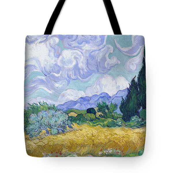 Wheat Field With Cypresses, 1889 Tote Bag