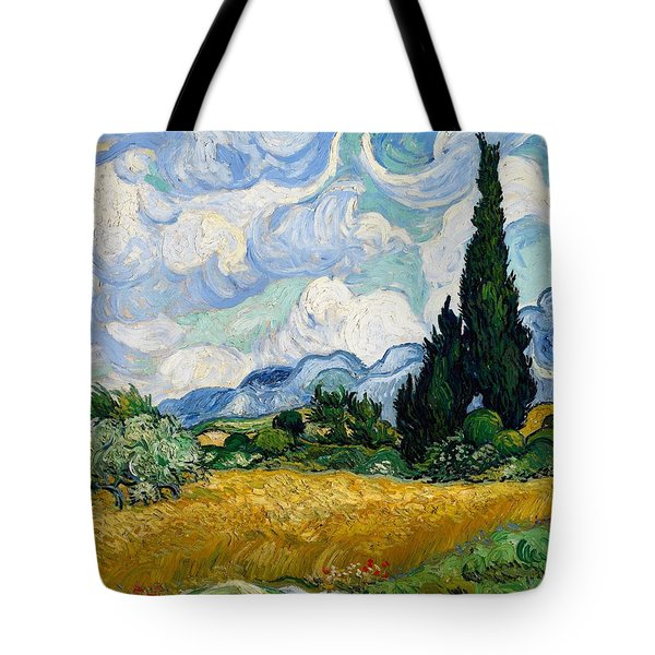Tote Bag featuring the painting Wheatfield With Cypresses by Van Gogh