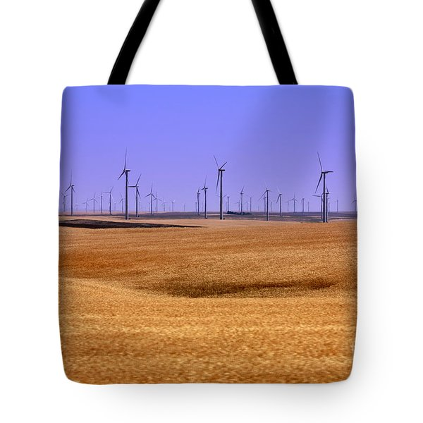 Wheat Fields And Wind Turbines Tote Bag by Carol Groenen