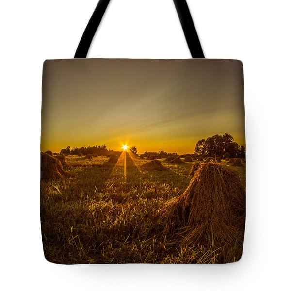 Wheat Shocks Tote Bag by Chris Bordeleau