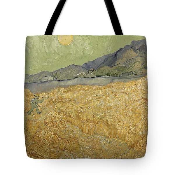 Wheatfield With Reaper Tote Bag by Vincent Van Gogh