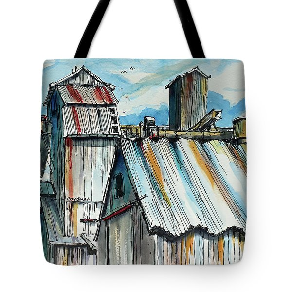 Tote Bag featuring the painting Wheatland High Rise by Terry Banderas