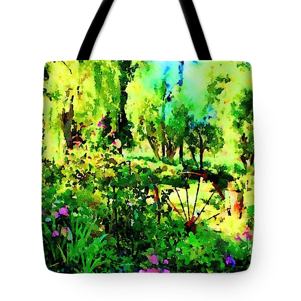 Tote Bag featuring the painting Wheel Garden by Angela Treat Lyon