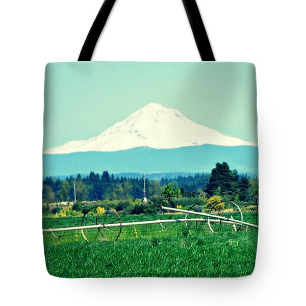 Tote Bag featuring the photograph Wheel Line And Mt Hood by Mindy Bench