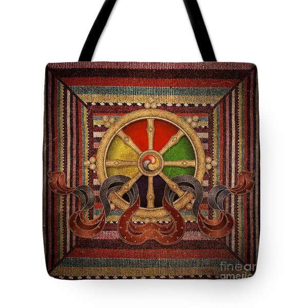 Tote Bag featuring the mixed media Wheel Of The Dharma by Lita Kelley