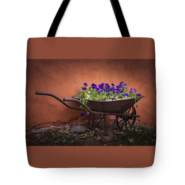 Wheelbarrow Full Of Pansies Tote Bag