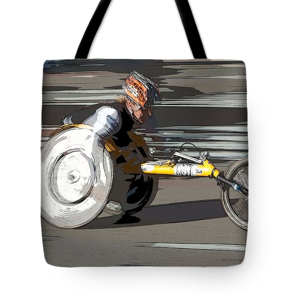 Wheelchair Racer Tote Bag by Clarence Holmes