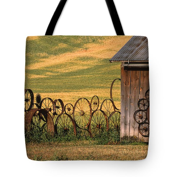 Wheels Of The Palouse Tote Bag by Sandra Bronstein