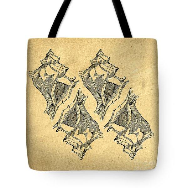 Tote Bag featuring the digital art Whelk Seashells Vintage by Edward Fielding