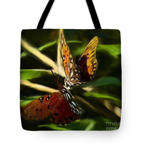 When Butterflies Kiss Tote Bag